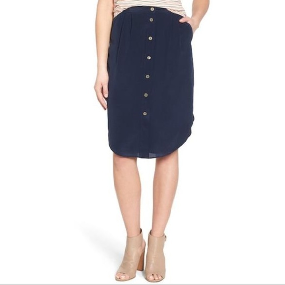 9c214c30a7f645 Madewell Skirts | Silk Navy Button Down Midi Skirt | Poshmark